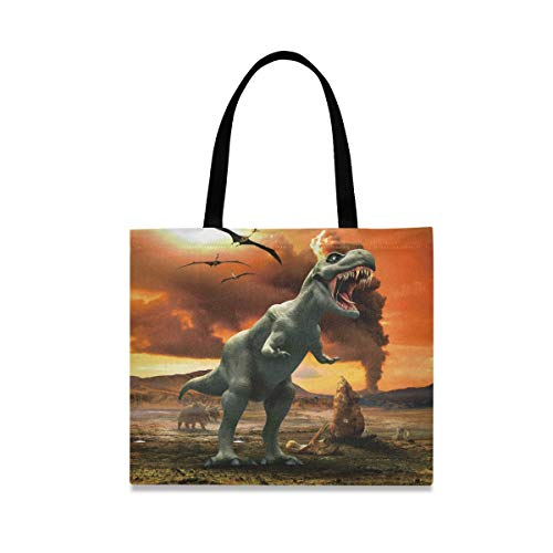 Fire Dinosaur Reusable Shopping Tote Grocery Foldable Bag Portable Storage Shoulder Bags Handbags for Travel Women Girls