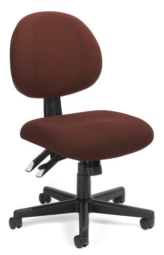 OFM Core Collection 24 Hour Ergonomic Upholstered Armless Task Chair, in Burgundy