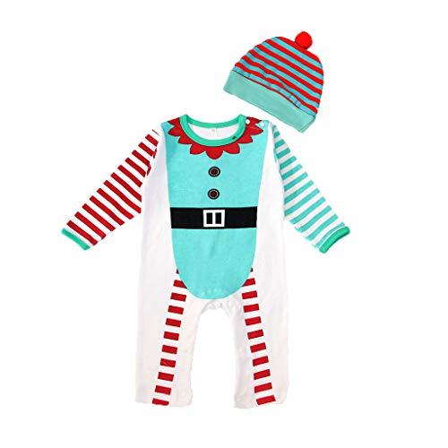 YWLINK Ropa de Bebe recién Nacido Traje de Navidad Navidad Dibujos Animados Sombrero Gorro Mameluco Mono Mono Mezcla de algodón Pijama Suave y cómodo 0-24 Meses Disfraz Divertido Lindo Juego de Roles