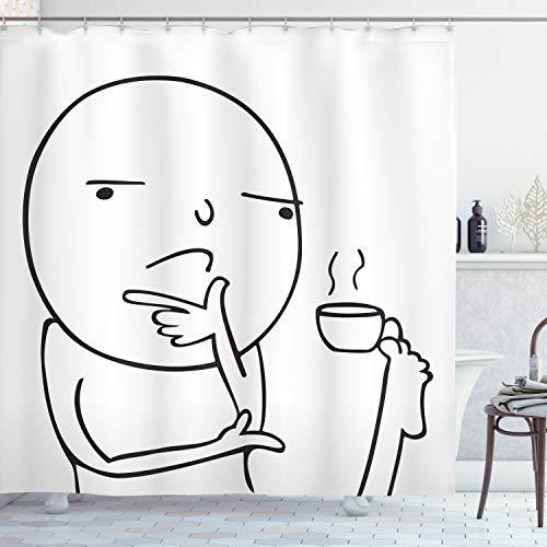 ABAKUHAUS Humor Duschvorhang, Nachdenklich Meme Kaffee, mit 12 Ringe Set Wasserdicht Stielvoll Modern Farbfest & Schimmel Resistent, 175x200 cm, Weiß & Schwarz