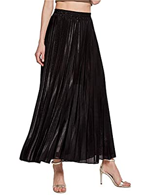 PERSUN Women's Long Tulle Skirts Casual Pleated Chiffon A-Line Maxi Skirt