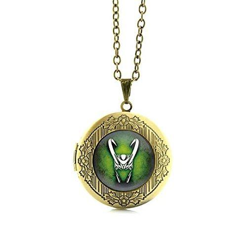 Loki Medaillon-Halskette, Glas-Cabochon-Anhänger, Statement-Kette, Herren-Schmuck