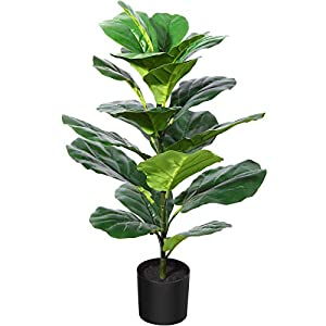 Silk Flower Arrangements CROSOFMI Artificial Fiddle Leaf Fig Tree 35 Inch Fake Ficus Lyrata Plant with 28 Leaves Faux Plants in Pot for Indoor Outdoor House Home Office Garden Modern Decoration Perfect Housewarming Gift,1Pack