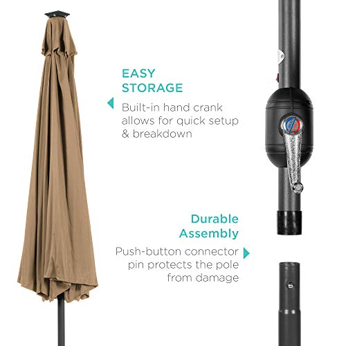 Best Choice Products 10ft Solar Powered Aluminum Polyester LED Lighted Patio Umbrella w/Tilt Adjustment and Fade-Resistant Fabric, Tan
