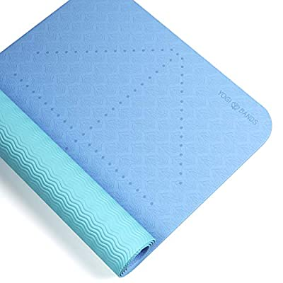Yogi Bands Premium TPE Yoga Mat - Body Alignment Guide Lines and Non-Slip Grip - Perfect for Home Exercise and Gym Workout - Light, Portable, Compact - Travel-Friendly Shoulder Strap