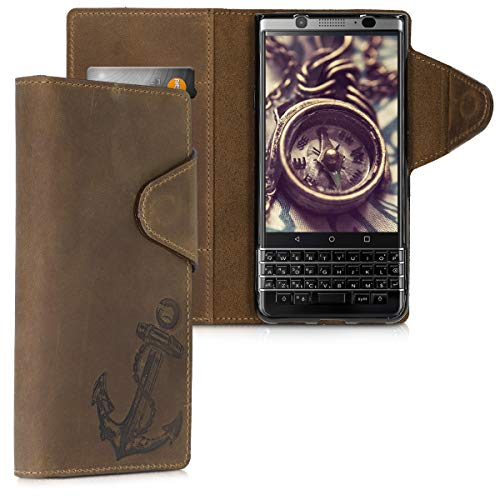 kalibri Wallet Hülle kompatibel mit BlackBerry KEYone (Key1) - Hülle Leder - Handy Cover Handyhülle Anker Vintage Braun