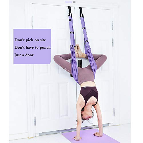 Aerial Yoga Seil Körpertraining Tanz Niedriger Bund Training Rücken Bend-Assist Traine Tür Flexibilität Stretching-Bügel für Rückenreiß Splits,Lila