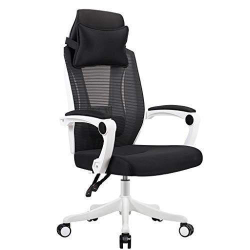 Chaise de Bureau Ergonomique Chaise de Jeu e-Sport Rotation à 360 ° avec Support Lombaire Chaise d'ordinateur Paresseux pour ménage LI Jing Shop (Couleur : Blanc)