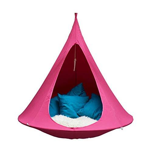 KTSWP Portable Hammock Chair Hanging Tree Tent Swing Chair Nook Kids Nest Hanging Seat Hammock for Indoor Outdoor, Great for Children, Max Capacity 200kg,Pink,100cm*110cm