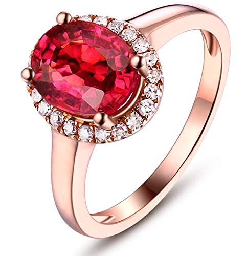 Blisfille Anillos de Compromiso Mujer Diamante Joyería Anillo 18 Kilates de Sangre de Paloma Anillo de Oro Rosa,Talla de 12 (Tamaño Personalizable)