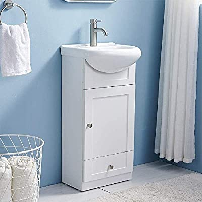 17.7 Inch Modern White Bathroom Vanity Set Small Bathroom Vanity,Bath Vanity with Ceramic Sink Single Bathroom Vanity Cabinet for Small Space,Bathroom Vanity and Sink Combo,1 Door 1 Drawer