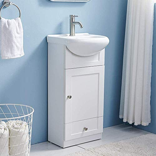 18 Inch Modern White Bathroom Vanity Set Small Bathroom Vanity,Bath Vanity with Ceramic Sink Single Bathroom Vanity Cabinet for Small Space,Bathroom Vanity and Sink Combo,1 Door 1 Drawer