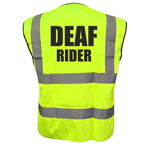 Hi Vis Deaf Rider żółta i różowa kamizelka kamizelka odblaskowa kurtka rowerowa bezpieczeństwo drogowe plus Brook Hi Vis UK kod zniżkowy na następne zamówienie
