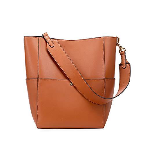 Kattee Hobo Bags for Women, Genuine Leather Tote Purses and Handbags Shoulder Bucket Bags(Brown)