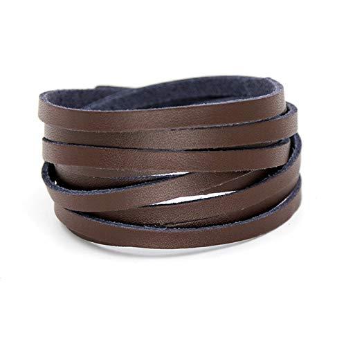 Pulseras para Mujer Joyería De Moda Cadena De Cuerda De Cuero Genuino Vintage Multi-Layer Winding Three Circle Bracelet Accessories-B080C