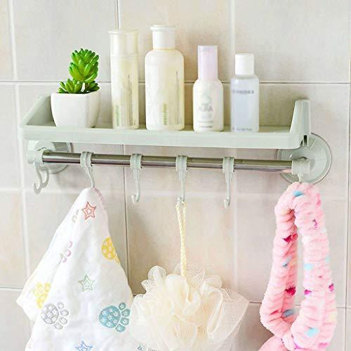 Estante de baño, caja de almacenamiento, toallero, sin perforación, color verde