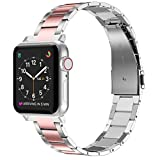 Wearlizer Stainless Steel Compatible with Apple Watch Band 42mm 44mm Women Men,Ultra-Thin Lightweight Color Matching Replacement Band Strap Compatible for iWatch Bands Series54321 Rose Gold+Silver