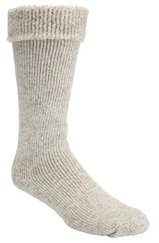 J.B. Icelandic -50 Below Ice Sock (Knee Length, Extra Warm Wool Cushion) (Men's Turn Down with Gumboot Cuff, Beige)2 pack, L/G