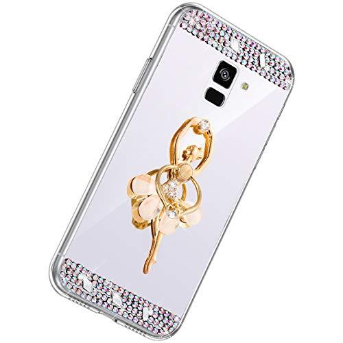 Herbests Kompatibel mit Samsung Galaxy A8 2018 Handyhülle Glitzer Diamant Glänzend Spiegel Handytasche Durchsichtig Kristall Bling Schutzhülle Case mit 360 Grad Ring Ständer Halter,Silber