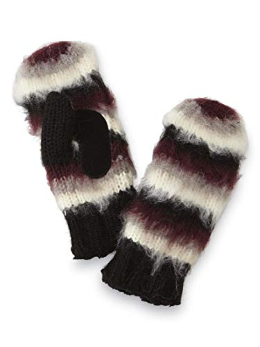 Isotoner Knit Mittens for Women with Leather Palms Thick Lined Warm Winter Knitted Mittens - Black Stripe One Size