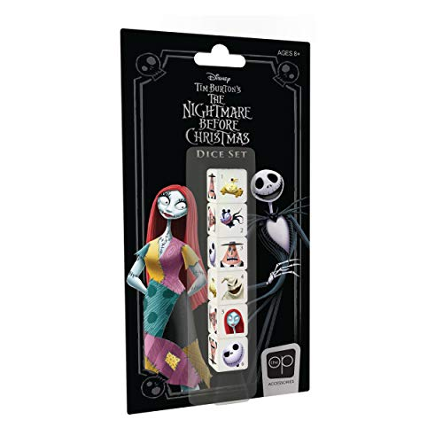 USAopoly Nightmare Before Christmas Dice Set | Collectible d6 Dice | Including Jack Skellington, Sally, Oogie Boogie, Mayor of Halloween Town, And More | Officially Licensed Disney 6-Sided Dice