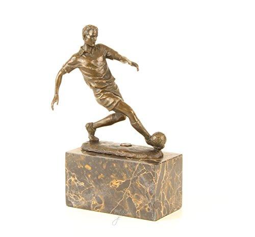 Bronzefigur Skulptur Motiv: Fußball Spieler auf Marmorsockel bronze Höhe 23,5 cm
