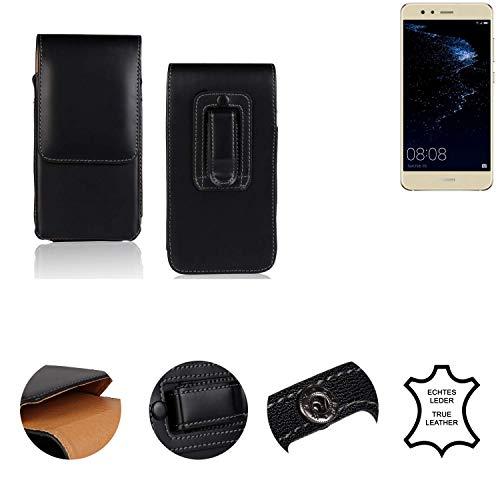K-S-Trade® Holster Gürtel Tasche Für Huawei P10 Lite Dual-SIM Handy Hülle Leder Schwarz, 1x