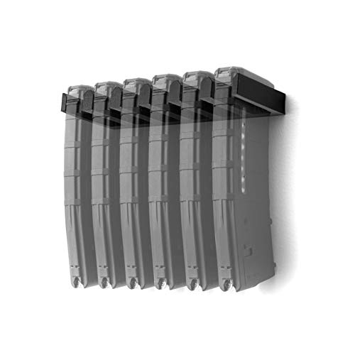 Spartan Mounts for 6X Standard PMAG - Firearm Accessories, Wall Mount Display for Gun Room, Magazine and Ammo Storage and Organization, Black, 6 Mag Slots, 1 Count