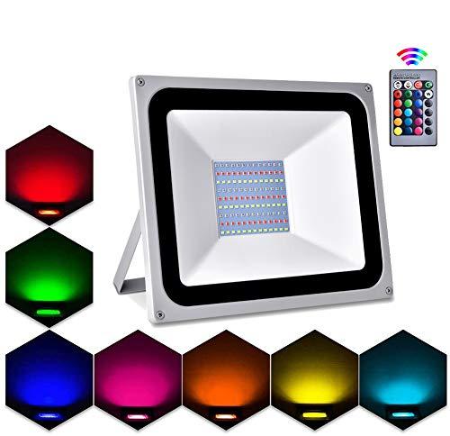 Faretto LED da Esterno RGB, Lacyie 100W 10000LM Faro LED Dimmerabile con Telecomando,16 colori,4 Modalità,8 Luminosità IP65 Impermeabile Faretti LED Illuminazione Giardino per Esterno e Interno