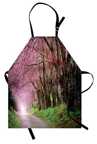 Delantal de jardín japonés, Parque Nacional en Chiang Mai Cherry Blossoms Spring Picture, babero de cocina unisex con cuello ajustable para cocinar jardinería, tamaño adulto, color verde helecho