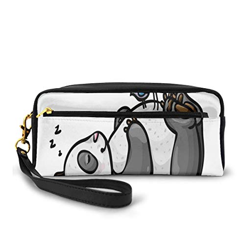 Pencil Case Pen Bag Pouch Stationary,Sleeping Panda Bear and Birds on Her Belly Childish Friend Nature Cute Animal Cartoon,Small Makeup Bag Coin Purse