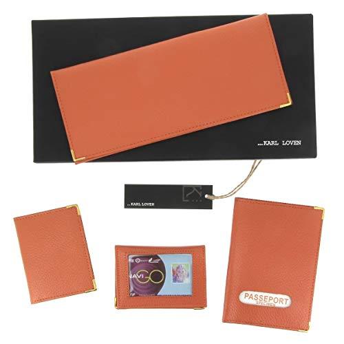 KARL LOVEN Coffret de Maroquinerie en Cuir Comprenant Portefeuille Chéquier - Porte-Carte Grise - Etui Passeport - Carte de Crédit/Fidélité - Pochette Carte bancaire RFID - Homme Femme Orange