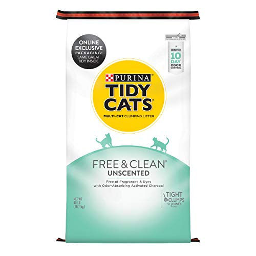 Purina Tidy Cats Clumping Cat Litter, Free & Clean Unscented Multi Cat Litter - 40 lb. Bag