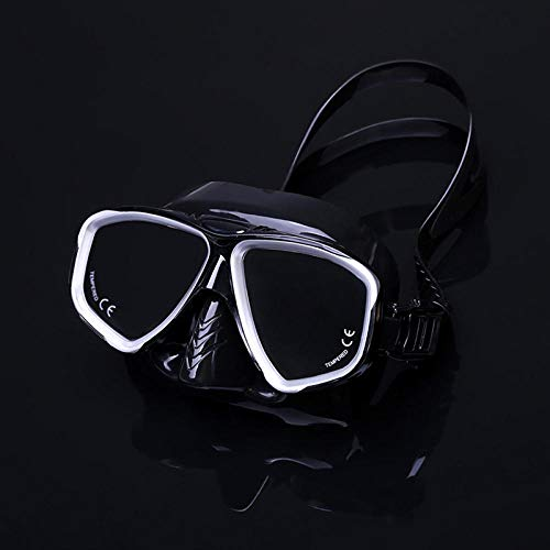 PUJING Máscara de Gafas antiniebla a Prueba de Agua Máscara de Buceo Profesional y snorkels Gafas Gafas de Buceo Natación Easy Breath Tube Set-Negro Plata