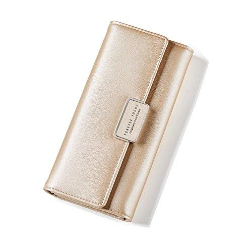 Geldbörse Damen IHRKleid® Elegant Leder Geldbeutel Süß Portemonnaie (Gold)