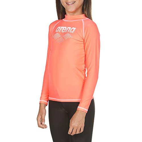 ARENA Mädchen Sonnenschutz Langarm Shirt Uv, Shiny pink-White, 128