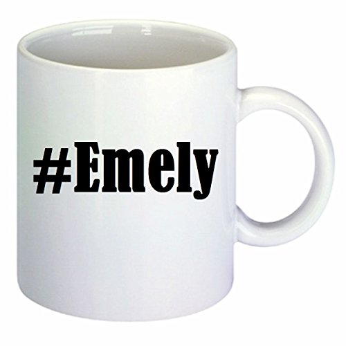 Kaffeetasse #Emely Hashtag Raute Keramik Höhe 9,5cm ? 8cm in Weiß