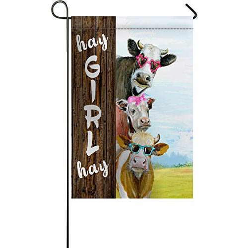 Shine-Home Garden Flag Eye-Catching Yard Banner, Hay Girl Hay Farmhouse Animal Cow Pattern - Double Sided Decorative Flags for Outdoor and House Use 28 x 40 Inches