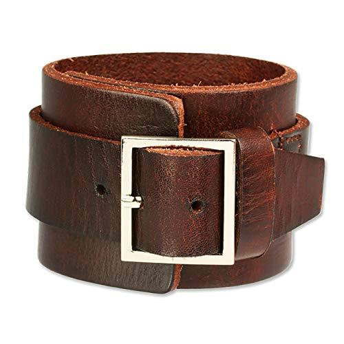 SilberDream Lederarmband braun mit Metallverschluss für Herren oder Damen Leder Armband Echtleder LAP014B
