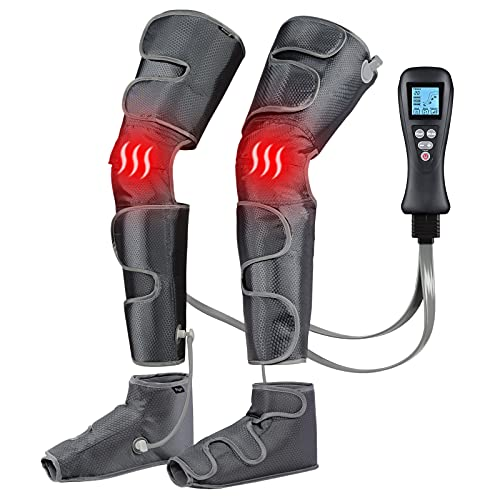 Leg Massager with Air Compression for Circulation & Muscles Relaxation, 2 Heat Levels Function,Feet Calf Thigh Massage Sequential Massager Device with Handheld Controller, 4 Modes 4 Intensities