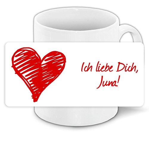Tasse mit Spruch - Ich liebe dich - mit Namen Juna und schönem Motiv für Verliebte zum Valentinstag | Liebestasse | Valentinsgeschenk