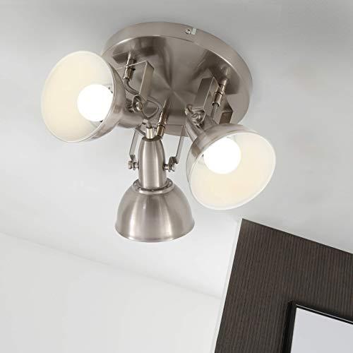 Briloner Leuchten Deckenleuchte, Rondell mit 3 Dreh-und Schwenkbaren Spots Im Retro/Vintage Design, Metall, satin-weiß