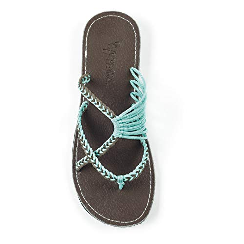 Plaka Oceanside Flat Summer Sandals for Women | Flip Flops for The Beach, Walking & Dressy Occasions | Turquoise Gray | Size 8