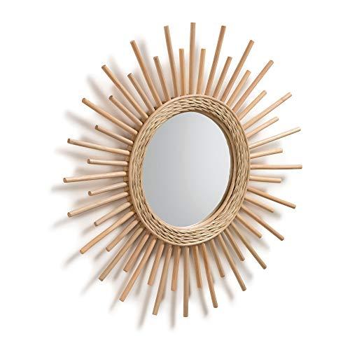 Kave Home - Espejo de Pared Marelli Redondo Ø 60 cm de ratán en Forma de Sol