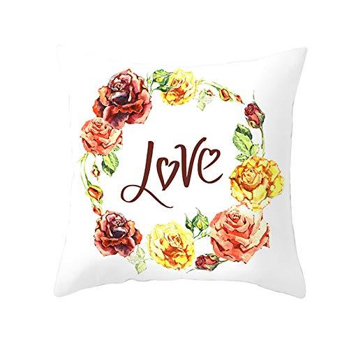 AtHomeShop 40x40cm Zierkissenhülle, Kissenhüllen in Polyester mit Love mit Blume, Weich Bequem für Zuhause Autos Wohnzimmer Schlafzimmer Büro Sofa Terrasse Dekoration - Rot Gelb, Stil 5