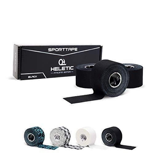 HELETIC Sporttape 3,8cm x 10m Athlete Edition - Tape mit extra starker Klebkraft, leicht abreißbar & wasserabweisend (Black (3 Rollen))