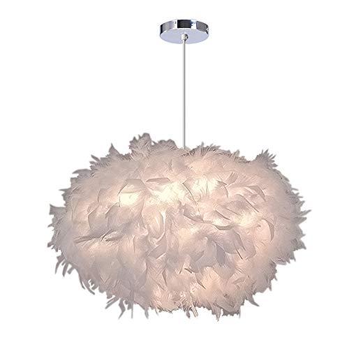 iDEGU Lámpara Colgante de plumas, Lámparas de techo para dormitorio sala de estar, 45 cm de diámetro, blancas