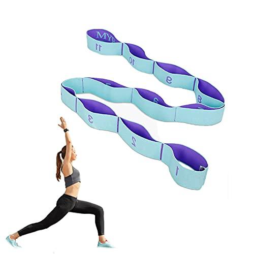 Macllar 54.33inch Bandas elásticas, Correa de Estiramiento de Yoga, ance Stretch Band, Camilla de piernas, Equipo de Ejercicio para Uso doméstico al Aire Libre, 138cm, Azul