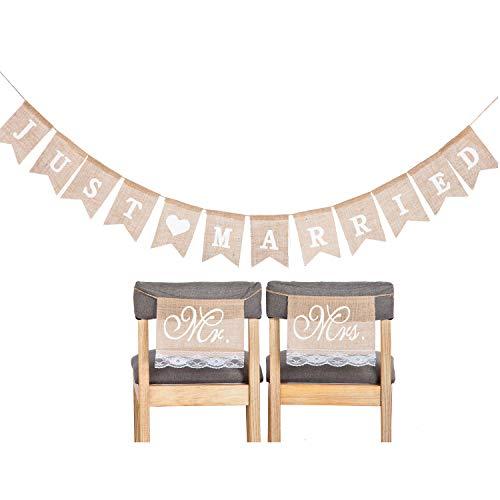CozofLuv MR & MRS Deko Buchstaben Hochzeit Deko Buchstaben (Banner Stuhl Zeichen)