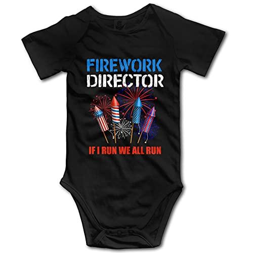 Firework Director 4 de julio I Run You Run Baby Boy Ropa de manga corta Babysuit Funny Unisex chaleco recién nacido mameluco traje algodón